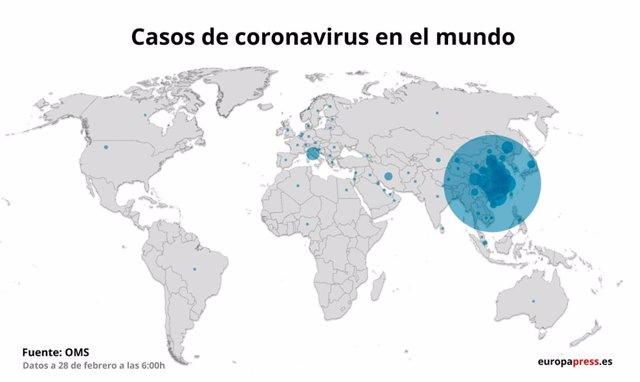 Mapa con casos de coronavirus en el mundo a 28 de febrero de 2020