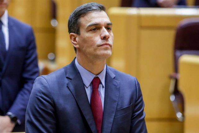 El presidente del Gobierno, Pedro Sánchez, durante su primera sesión de control en el Senado en Madrid el 25 de febrero de 2020