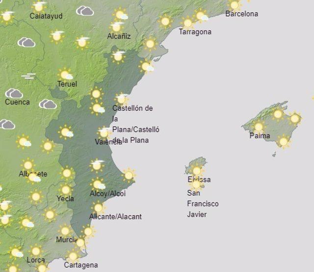 Predicción de Aemet para la Comunitat Valenciana del 29 de febrero de 2020
