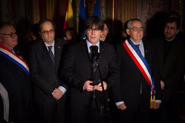 Discurs de l'expresident de la Generalitat Carles Puigdemont en visitar el Departament de Pirineus Orientals a Perpinyà (França)