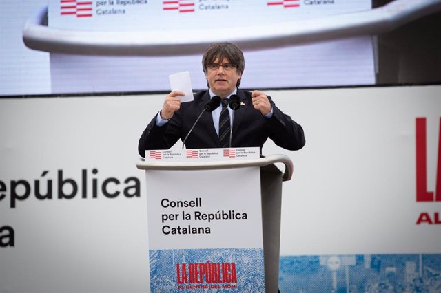 Intervenció de l'expresident de la Generalitat Carles Puigdemont en l'acte del Consell per la República a Perpinyà (França) el 29 de febrer del 2020.