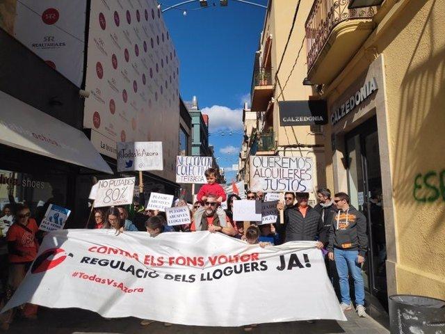 Manifestació per la regulació del preu del lloguer