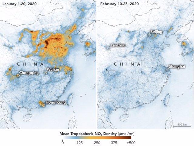 Coronavirus.- La NASA confirma el descenso generalizado de la polución en China