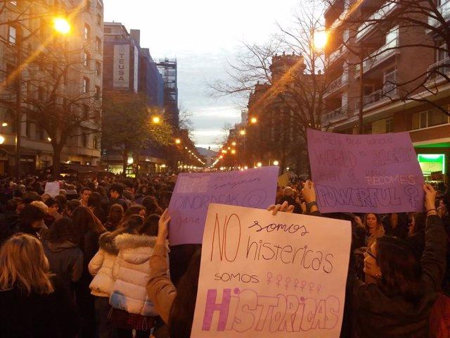 Menifestación feminista del 8-M de Bilbado de hace un año