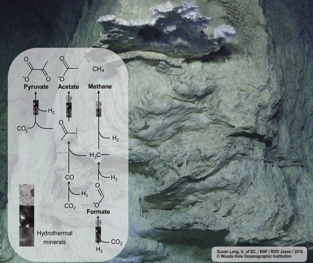 Los catalizadores minerales que se encuentran en los respiraderos de aguas profundas convierten el dióxido de carbono y el hidrógeno en biomoléculas, mostrando paralelos sorprendentes con las vías biológicas conocidas.