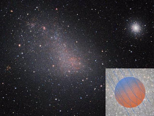 Cúmulo globular 47 Tuc (arriba a la derecha) y la Pequeña Nube de Magallanes en el mismo campo