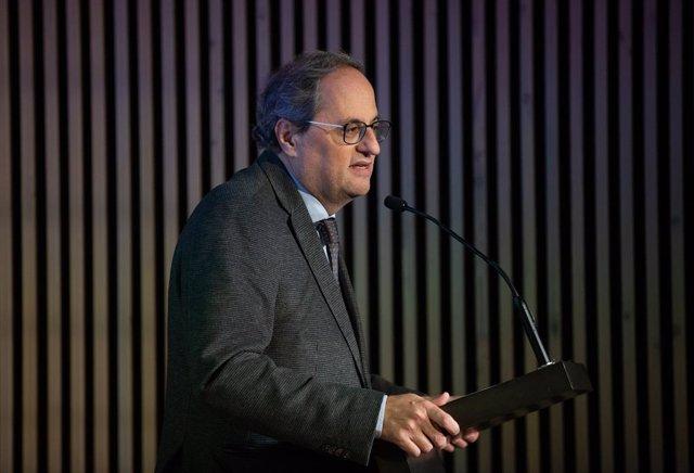 El president de la Generalitat, Quim Torra durant la seva intervenció en l'acte d'acord Nacional per a l'Agenda 2030, al recinte modernista de Sant Pau, Barcelona (Espanya), 21 de febrer del 2020.