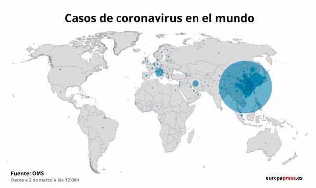 Mapa amb els casos de coronavirus per països a 3 de març del 2020 a les 12.00 hores.