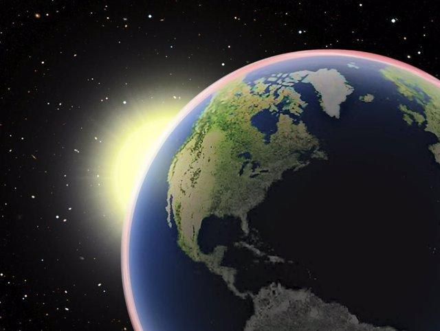 El Sol Visto Desde El Cráter Tycho En La Luna Durante Un Eclipse Lunar Total En La Tierra. Cuando El Sol Se Pone Detrás Del Pacífico Norte, Su Disco Desaparece Completamente Detrás De La Tierra.