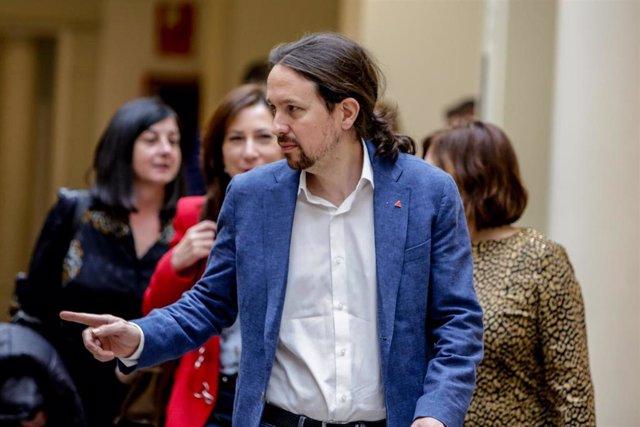 El vicepresidente segundo y ministro de Derechos Sociales y Agenda 2030, Pablo Iglesias, a su llegada a la sesión de control al Gobierno en el Senado, en Madrid (España) a 3 de marzo de 2020.
