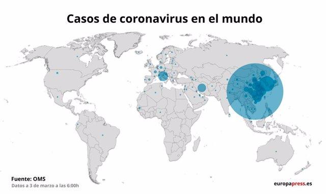 Mapa con casos de coronavirus en el mundo a 3 de marzo