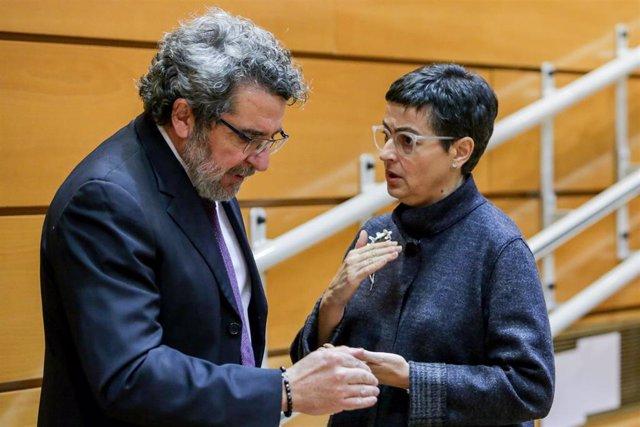 La ministra de Asuntos Exteriores, Unión Europea y Cooperación, Arancha González Laya, durante la sesión de control al Gobierno en el Senado, en Madrid (España) a 3 de marzo de 2020.