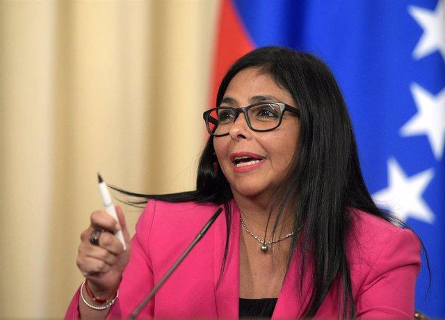 """Venezuela.- Delcy Rodríguez muestra """"todo su apoyo"""" a la mesa de diálogo entre e"""