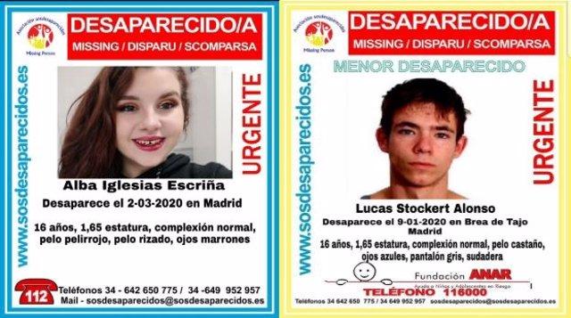 Imagen de los dos adolescentes desaparecidos