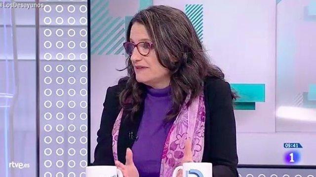 Mónica Oltra en una entrevista en los Desayunos de RTVE