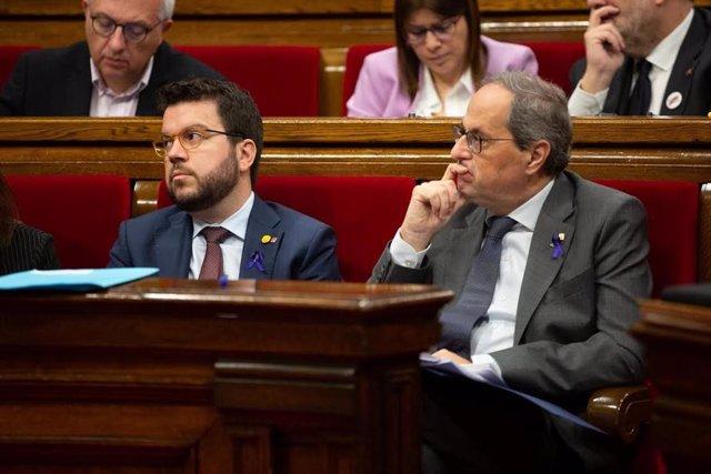 El vicepresident de la Generalitat, Pere Aragonès i el president de la Generalitat, Quim Torra.