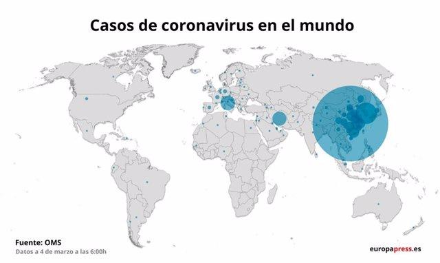 Mapa amb casos de coronavirus al món el 4 de mar.
