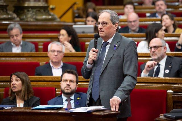 El president de la Generalitat, Quim Torra en la sessió de control del Parlament