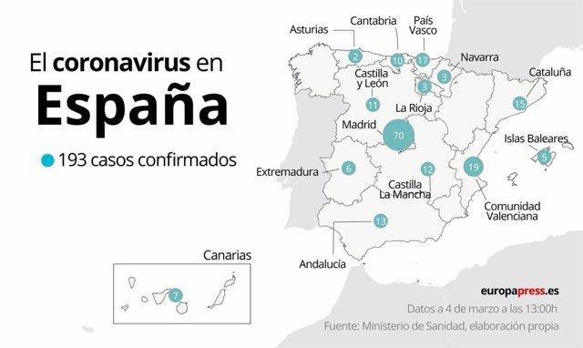 Mapa con casos de coronavirus en España por comunidades autónomas a 4 de marzo a las 13:00