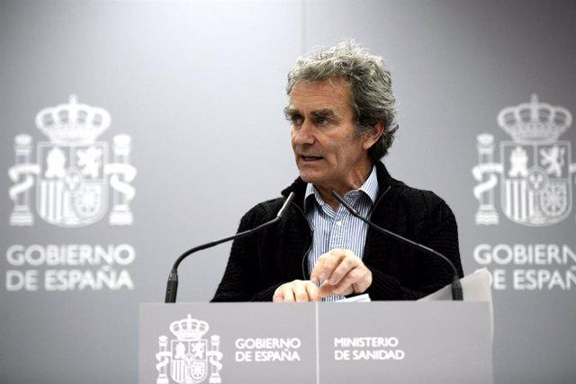 El director del Centre de Coordinació d'Alertes i Emergències Sanitàries del Ministeri de Sanitat, Fernando Simón en roda de premsa, Madrid (Espanya), 2 de març del 2020.