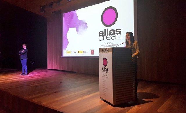La ministra de Igualdad, Irene Montero, en el acto de presentación del festival 'Ellas Crean'