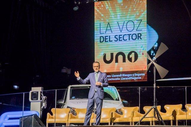 Francisco Aranda, presidente de UNO, durante la inauguración del encuentro empresarial del sector logístico.