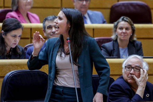 La ministra d'Igualtat, Irene Montero, en la sessió de control del Govern central al Senat, a Madrid (Espanya), 3 de marzo del 2020.