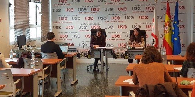 Presentación del estudio 'Análisis de la brecha salarial de género por sectores productivos', elaborado por las secretarías de Formación Sindical e Igualdad y de Comunicación y Estudios Sindicales de la Unión Sindical Obrera (USO)
