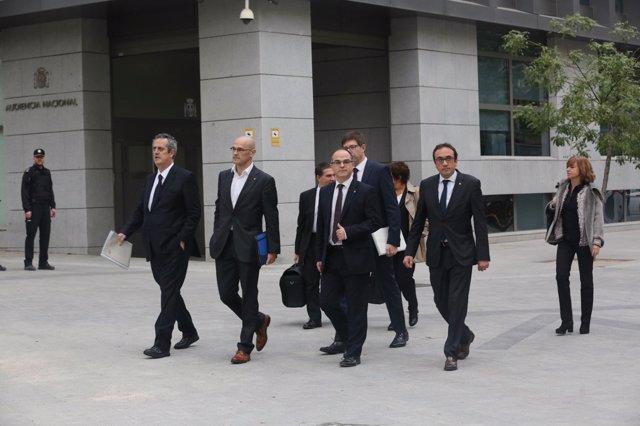 Rull, Forn, Romeva, Turull y Borras llegan a la Audiencia Nacional para declarar por rebelión