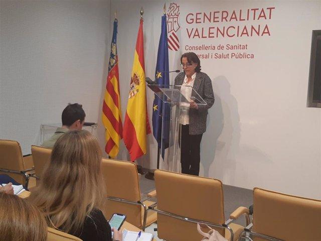 La subdirectora general de Epidemiología, Hermelinda Vanaclocha, en rueda de prensa