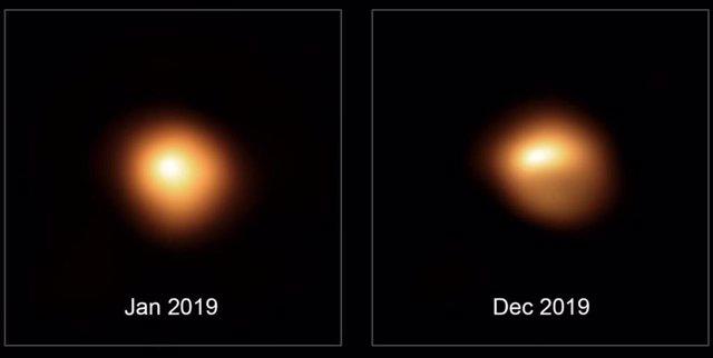 Observaciones De La Estrella Betelgeuse Tomadas Por El Very Large Telescope De ESO En Enero Y Diciembre De 2019, Que Muestran La Atenuación Sustancial De La Estrella.