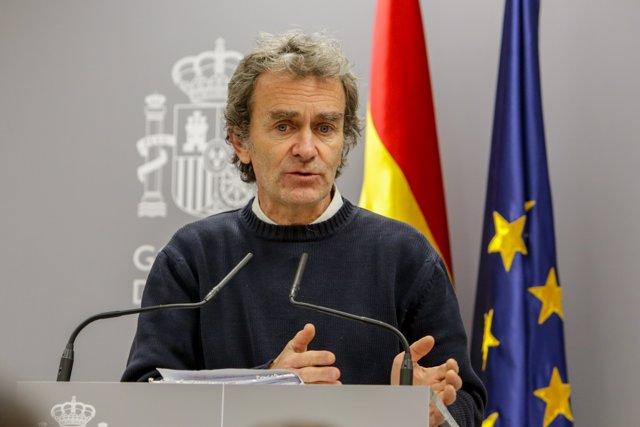 El director del Centro de Coordinación de Alertas y Emergencias Sanitarias (Ccaes), Fernando Simón, interviene en la rueda de prensa para informar sobre la situación del Coronavirus en España, en el Ministerio de Sanidad, en Madrid (España) a 07 de marzo