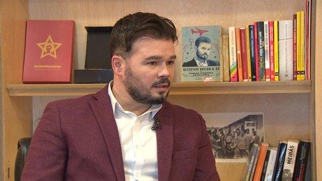 El portaveu d'ERC al Congrés dels Diputats,  Gabriel Rufián, durant una entrevista amb Europa Press.