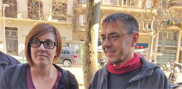 Conchi Abellán i Juan Carlos Monedero abans de presentar la candidatura d'Abellán a les primàries de Podem