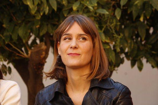 Primer pla de la candidata de CatECP a la Generalitat, Jessica Albiach, en un acte el 7 de març del 2020. (Horitzontal)