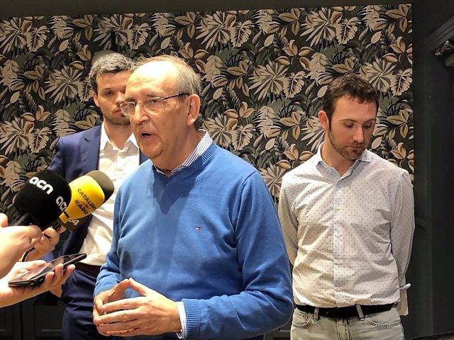 Antoni Garrell, Adrià Aldomà i Oriol Puig (El País de Demà) anuncien, el 7 de març del 2020 a Barcelona, que aniran a les eleccions catalanes