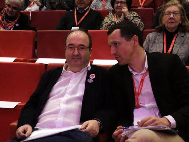 Pla obert del primer secretari del PSC, Miquel Iceta, i del primer secretari del PSC a Lleida, Pirineu i Aran, Òscar Ordeig, al 10è Congrés del PSC de les comarques de Lleida, Pirineu i Aran, el 7 de març de 2020. (Horitzontal)