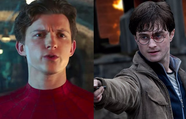 Spider-Man (Tom  Holland) y Harry Potter (Daniel Radcliffle)