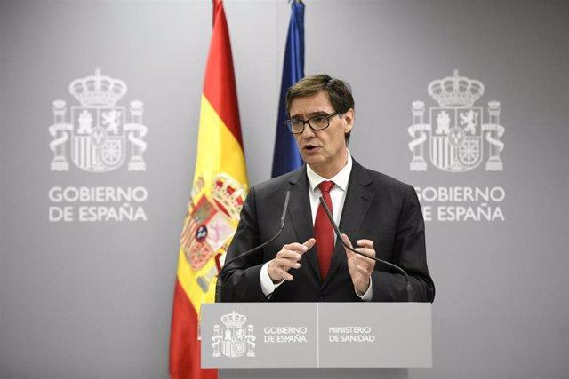 El ministro de Sanidad, Salvador Illa, ofrece una rueda de prensa para informar sobre la situación del coronavirus en España