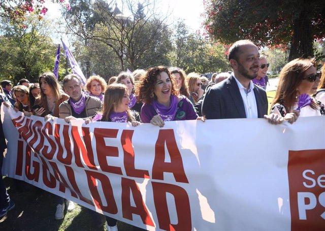 La ministra de Hacienda, María Jesús Montero , en el acto del 8M en Sevilla