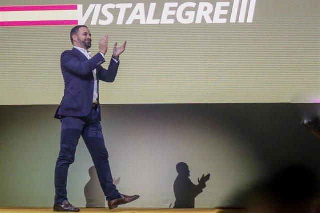 El presidente de Vox, Santiago Abascal, en Vistalegre