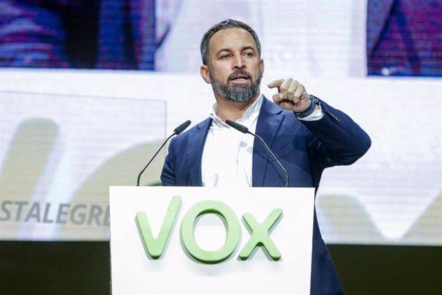 El presidente de VOX, Santiago Abascal, en el Palacio de Vistalegre
