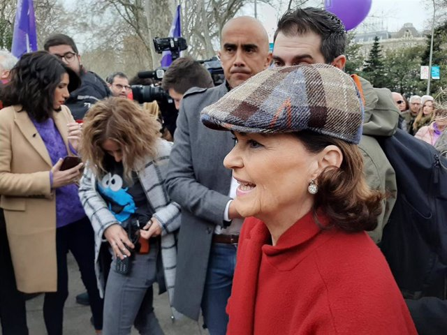 Carmen Calvo en la manifestación del 8M