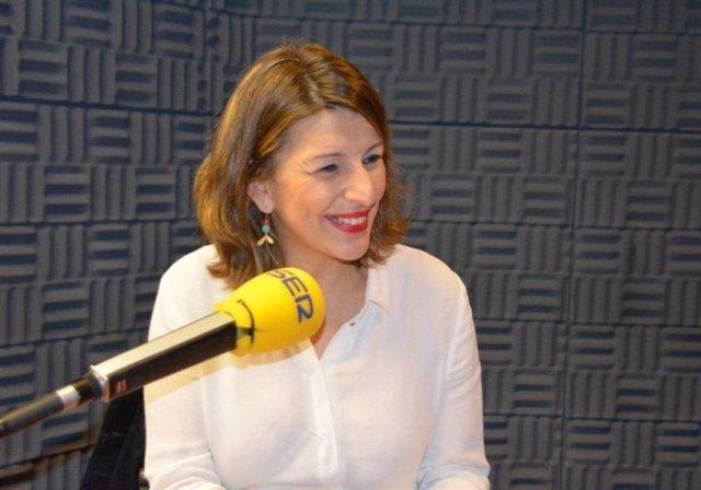 La ministra de Trabajo y Economía Social, Yolanda Díaz, en una entrevista a la Cadena Ser Galicia.