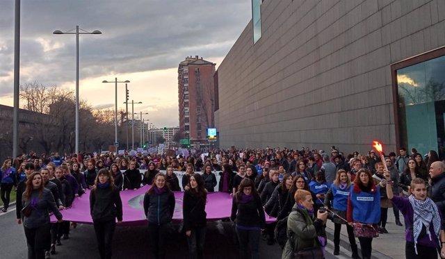 Manifestación en Pamplona por el 8M, Día Internacional de la Mujer