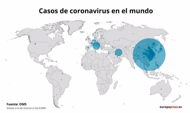 Mapa amb casos de coronavirus a 6 de març