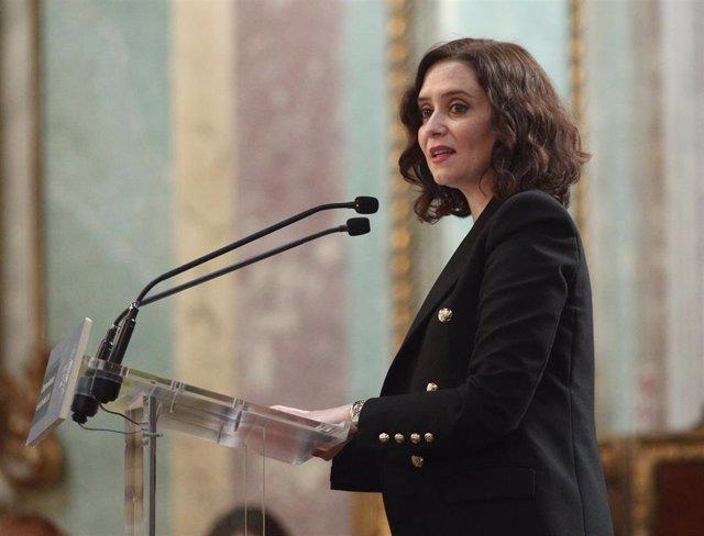 La presidenta de la Comunidad de Madrid, Isabel Díaz Ayuso, durante su intervención de clausura del I Congreso Nacional de la Sociedad Civil organizado por la asociación Sociedad Civil Ahora, Madrid (España), a 28 de febrero de 2020.