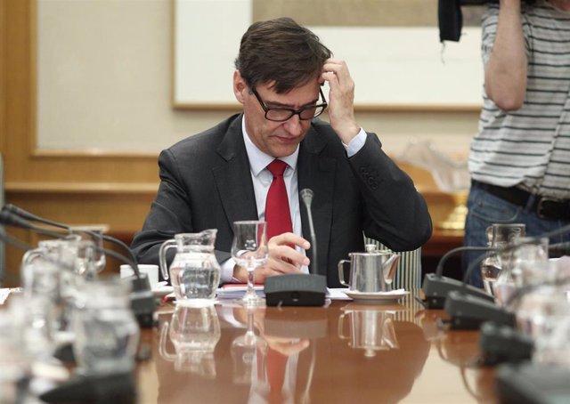 El ministro de Sanidad, Salvador Illa, durante la reunión efectuada por el Comité de Seguimiento del Coronavirus por la confirmación de un paciente con coronavirus en Madrid, en el Ministerio de Sanidad/ Madrid (España), a 26 de febrero de 2020.