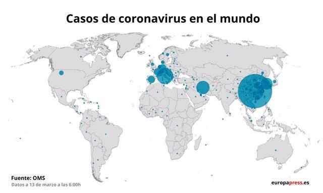 Mapa con casos de coronavirus en el mundo a 13 de marzo