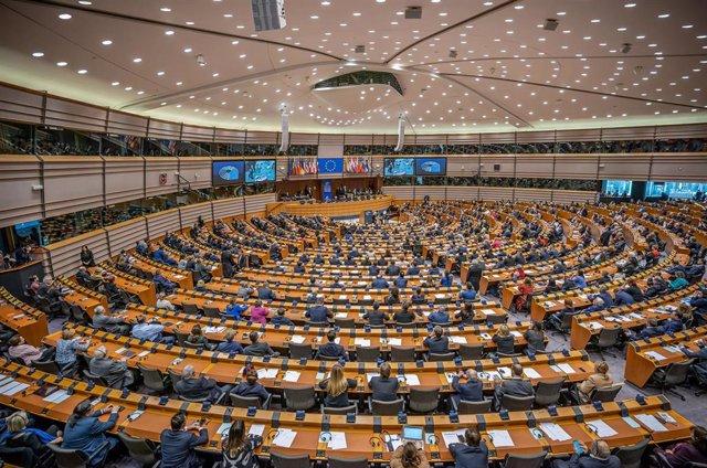 Vista general del pleno de la Eurocámara en Bruselas